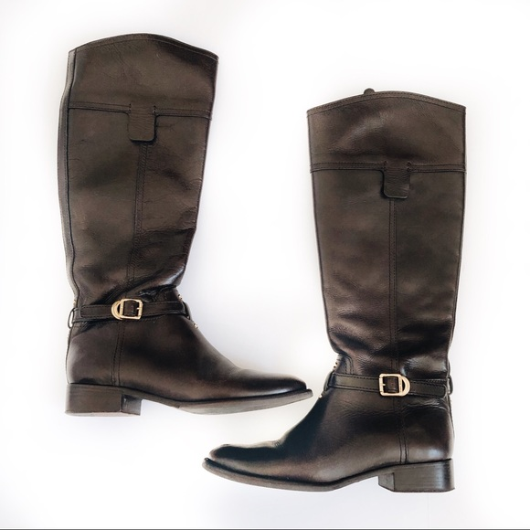 Tory Burch Shoes - Tory Burch Eloise Brown Leather Knee Riding Boots
